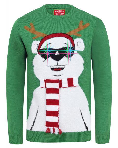 Christmas Jumper Crew Neck Cool Polar Bear Green | Jean Scene