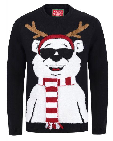 Christmas Jumper Crew Neck Cool Polar Bear Black | Jean Scene