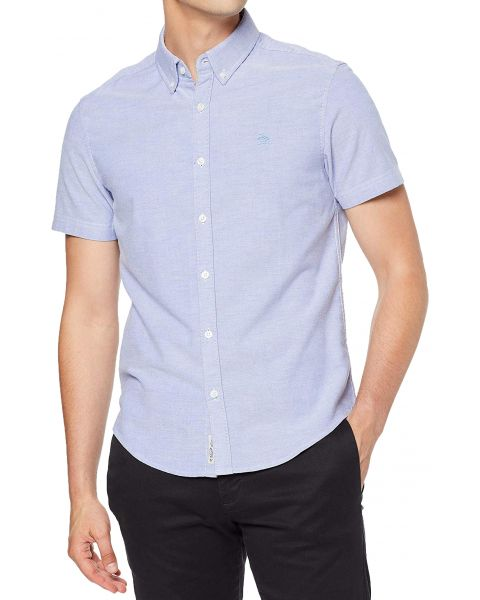 Original Penguin Oxford Stretch Shirt Short Sleeve Amparo Blue | Jean Scene