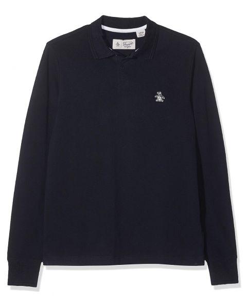 Original Penguin Raised Rib Long Sleeve Polo Shirt Dark Sapphire   Jean Scene