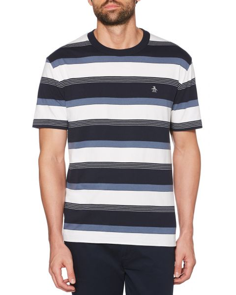 Original Penguin Road Map Stripe T-Shirt Dark Sapphire | Jean Scene