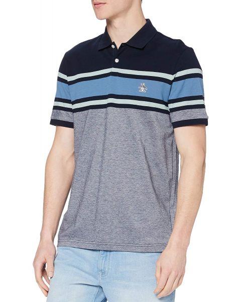 Original Penguin Chest Stripe Short Sleeve Polo Shirt Dark Sapphire