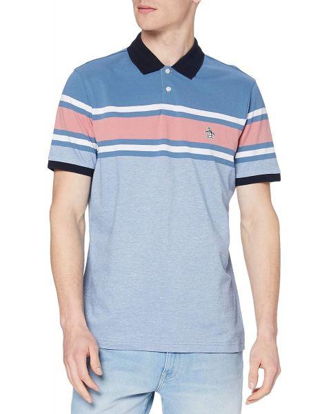 Original Penguin Chest Stripe Short Sleeve Polo Shirt Copen Blue
