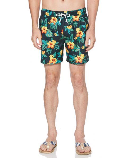 Original Penguin Men's Floral Elastic Volley Swim Shorts Dark Sapphire | Jean Scene