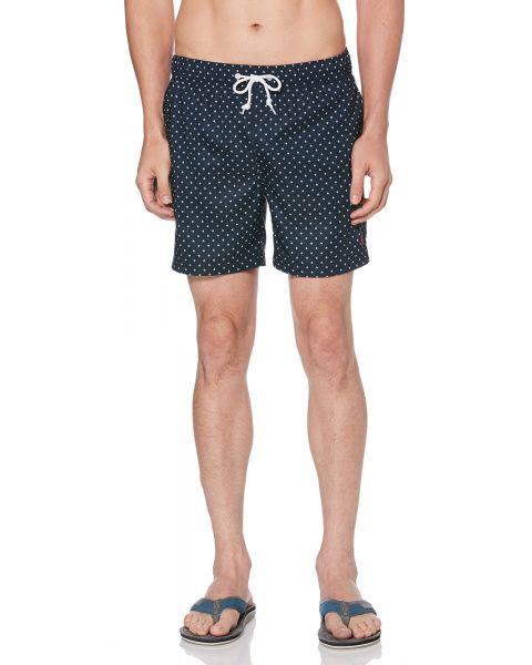 Original Penguin Men's Star Print Elastic Volley Swim Shorts Dark Sapphire | Jean Scene