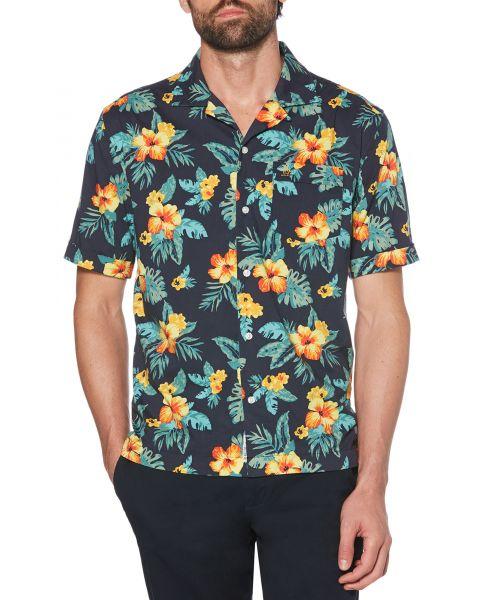 Original Penguin Floral Print Shirt Short Sleeve Dark Sapphire | Jean Scene