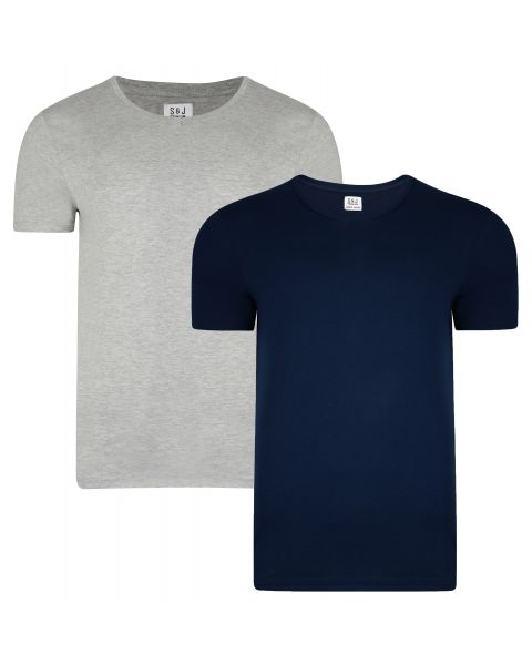 Smith & Jones Basic Vee Neck Cotton Plain T-Shirt 2 Pack Dress Blue/Grey Marl | Jean Scene