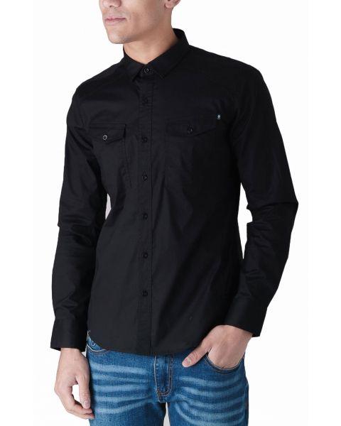 Duck and Cover Slim Reynold Long Sleeve Shirt Black | Jean Scene