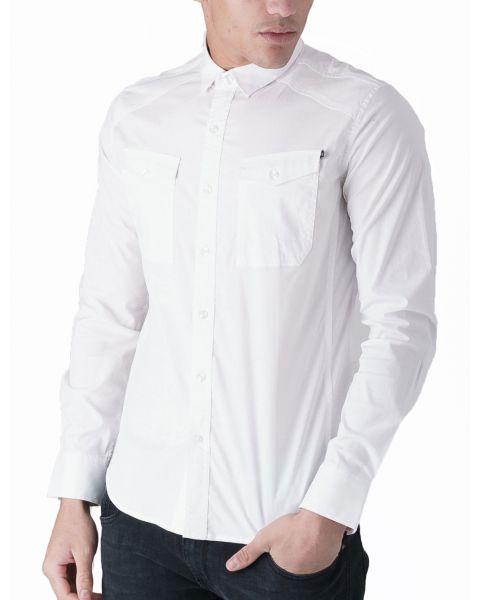 Duck and Cover Slim Reynold Long Sleeve Shirt White | Jean Scene