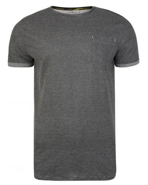 Ringspun Ribble Crew Neck Cotton Stripe T-shirt Charcoal | Jean Scene