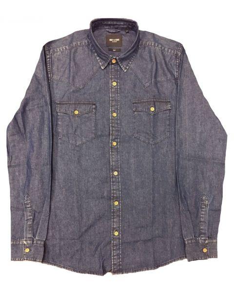 Only & Sons Originals Slim Denim Long Sleeve Shirt Dark Blue | Jean Scene