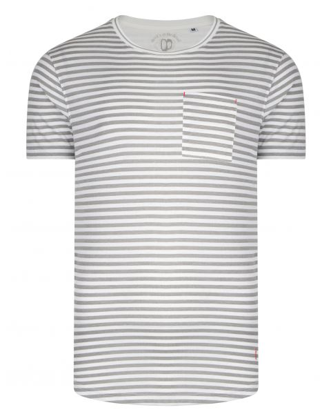 Ringspun Shifty Crew Neck Cotton Stripe T-shirt White/Grey | Jean Scene