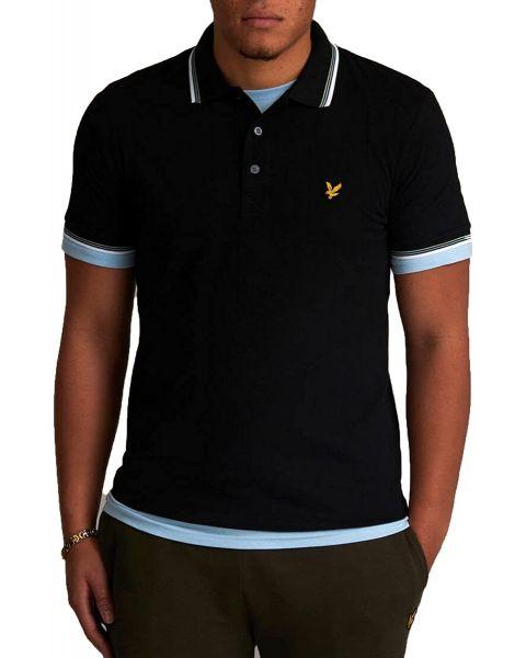 Lyle & Scott Tipped Short Sleeve Polo Shirt Jet Black/Tan