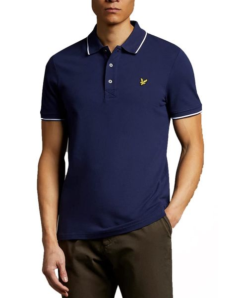 Lyle & Scott Tipped Short Sleeve Polo Shirt Navy Blue/White