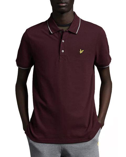 Lyle & Scott Tipped Short Sleeve Polo Shirt Burgundy/ Mid Grey