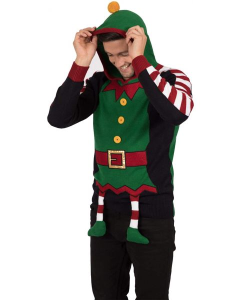 Christmas Jumper 3D Elf Hoodie Green | Jean Scene