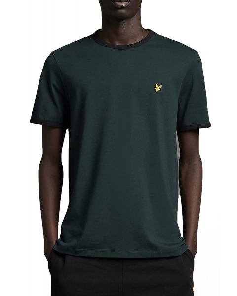 Lyle & Scott Ringer Crew Neck T-Shirt Dark Green/Jet Black