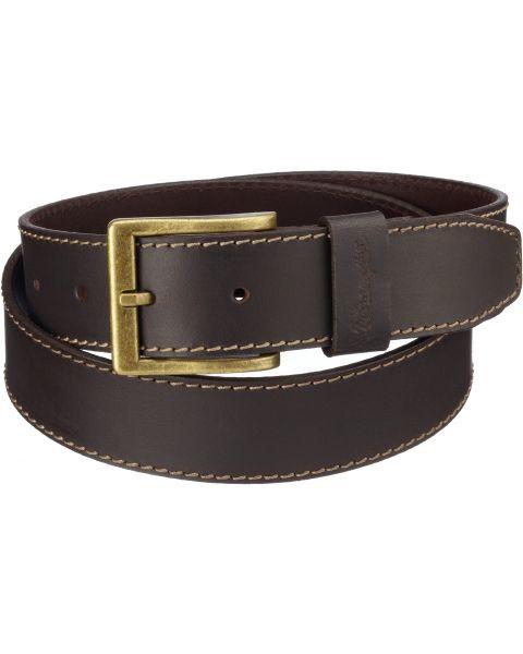 Wrangler Basic Stitched Leather Belt Brown | Jean Scene