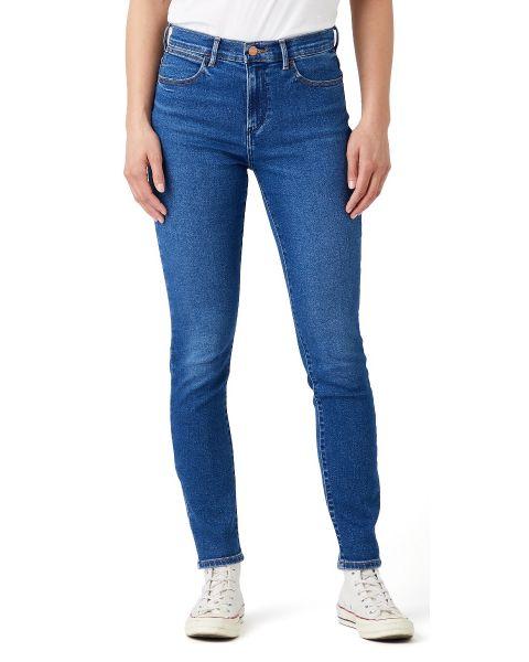 Wrangler Ladies High Rise Skinny Stretch Denim Jeans Camellia | Jean Scene
