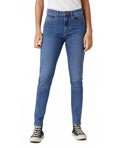 Wrangler High Rise Women's Skinny Stretch Jeans Wonder Blue | Jean Scene