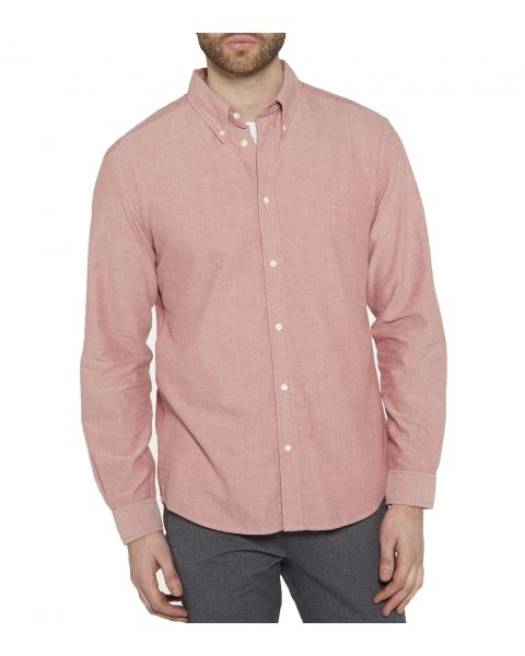 Wrangler Casual Men's Long Sleeve Oxford Shirt Red | Jean Scene