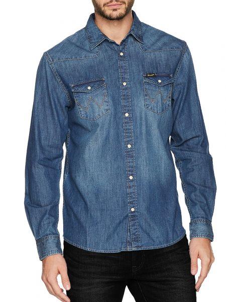 Wrangler Western Denim Shirt Long Sleeve Mid Indigo | Jean Scene