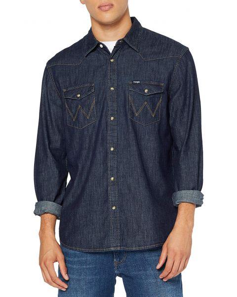 Wrangler Long Sleeve Denim  Shirt Long Sleeve Rinse Indigo | Jean Scene