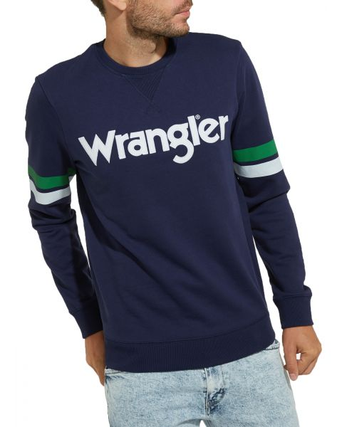 Wrangler Crew Neck Logo Sweatshirt Peacoat Blue   Jean Scene