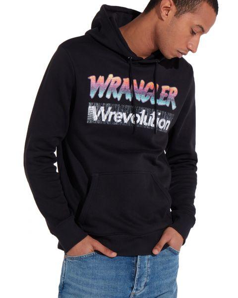 Wrangler Overhead Logo Hoodie Black   Jean Scene