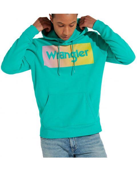 Wrangler Overhead Logo Hoodie Spectra Green   Jean Scene