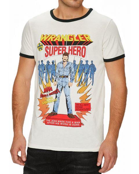 Wrangler Graphic Hero Crew Neck Logo T-shirt Vaporous Gray   Jean Scene