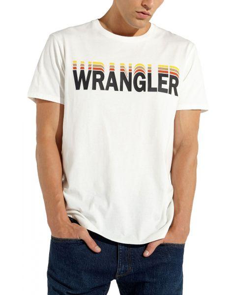 Wrangler Festival Crew Neck Graphic Logo T-shirt Vintage White   Jean Scene