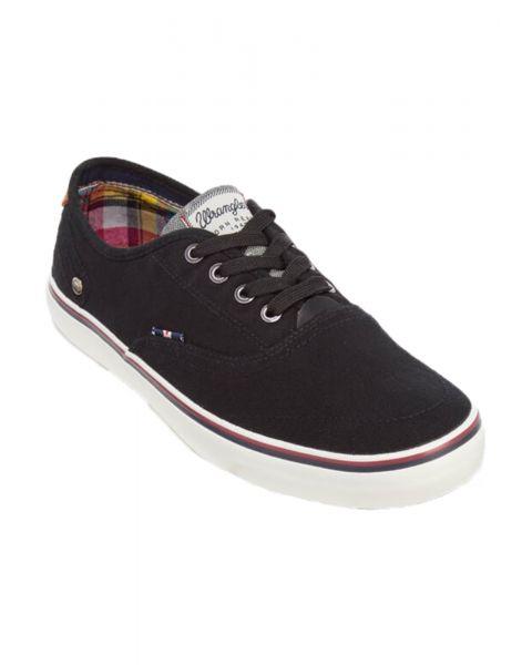 Wrangler Mens Low Canvas Legend Board Shoes Black Shoes   Jean Scene