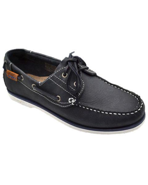 Wrangler Mens Low Ocean Leather Boat Shoes Navy Shoes | Jean Scene
