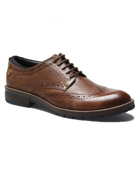 Wrangler Mens Boogie Leather Brogue Shoes Rust Shoes   Jean Scene