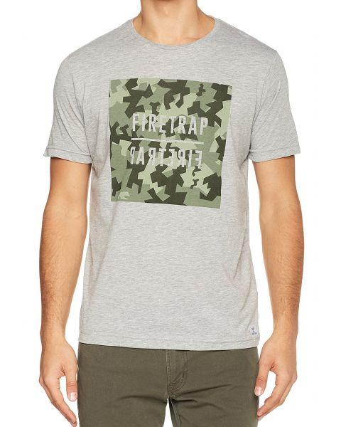 Firetrap Yakona Crew Neck Cotton Printed T-shirt Grey Marl | Jean Scene
